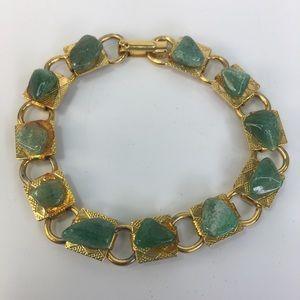 "Vintage Jade stone goldtone bracelet mcm 7.25"""
